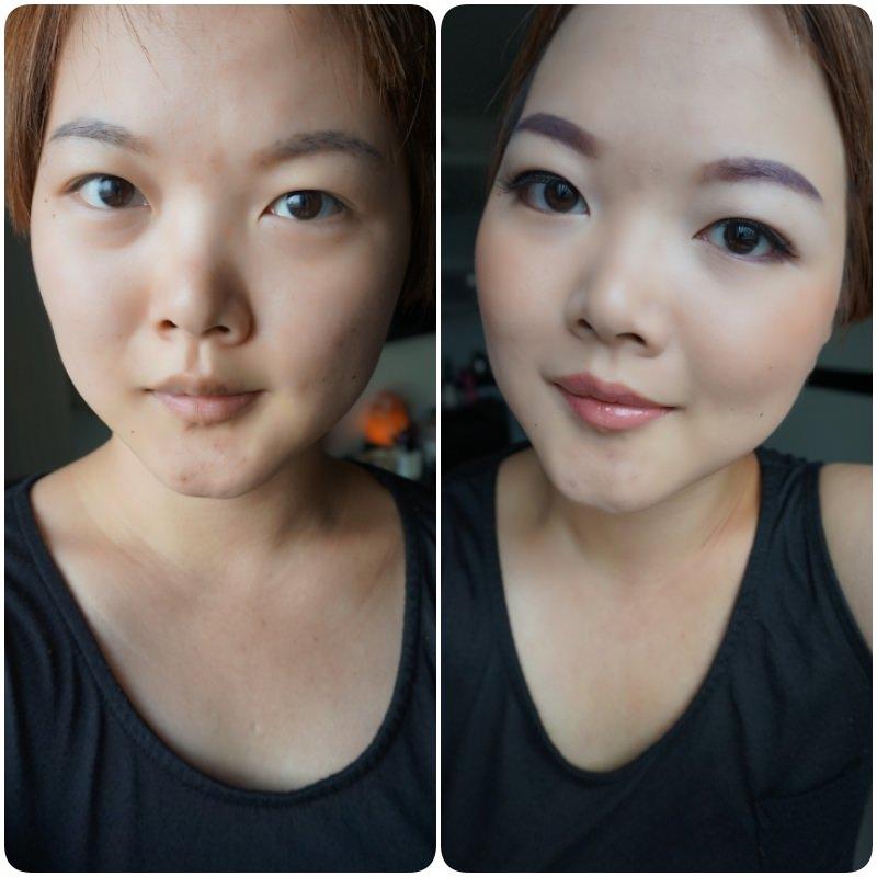 紫色眼妝前後